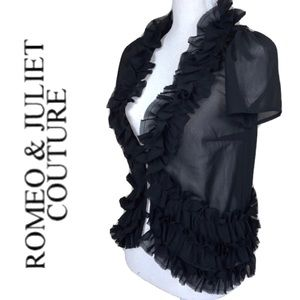 ROMEO & JULIET COUTURE sheer ruffled button front